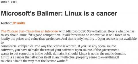 Microsoft's Steve Ballmer: Linux is a cancer
