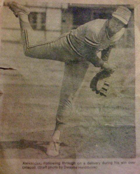 Alvin Alexander pitching in high school