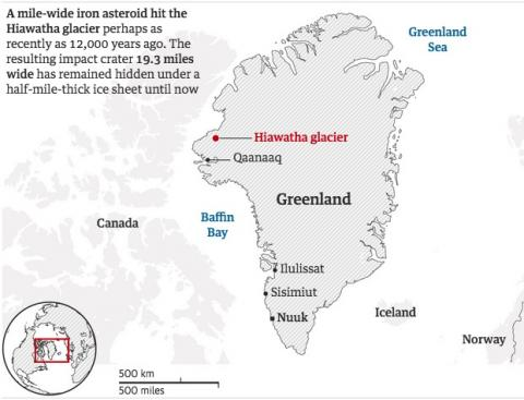 A mile-wide meteor hit Greenland and was hidden by an ice sheet