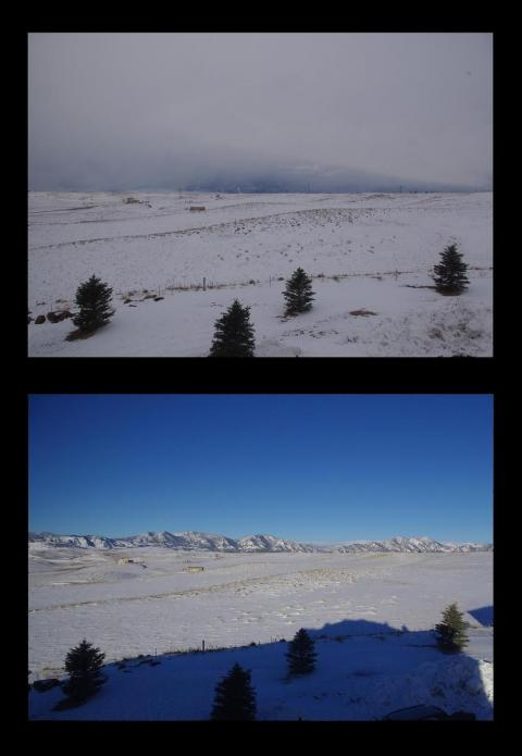 Rocky Mountains in February: Snowstorm, then clear