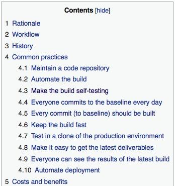 Best practices for software development (continuous integration)