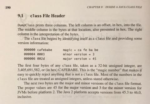 CAFEBABE and Java class files