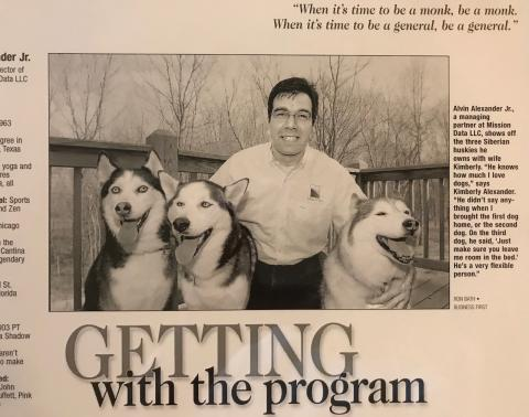 Me and the dogs in a business magazine