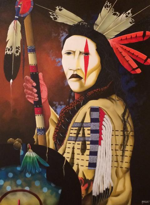 Native American Indian painting (red stripe over left eye)