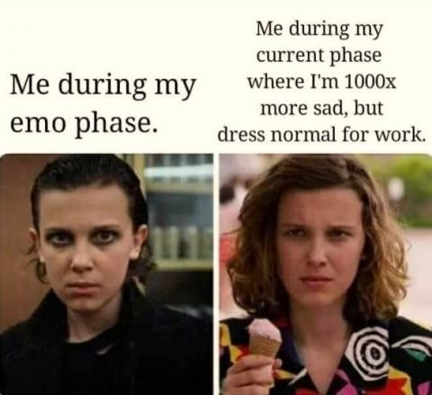 Emo phase vs current phase