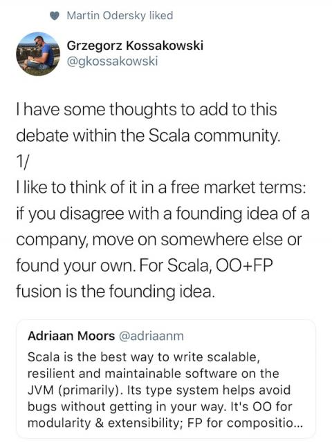 Scala founding idea: Fusion of FP + OOP