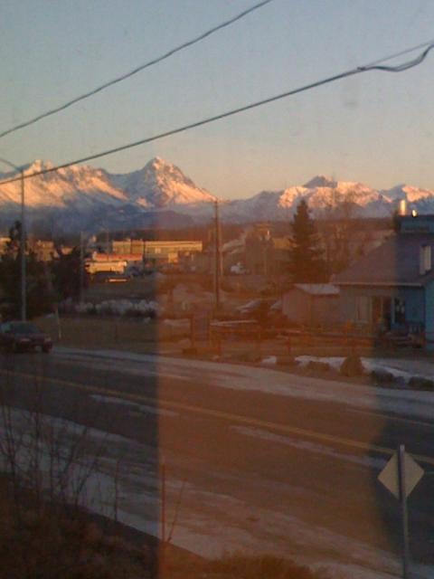 Mountains from my apartment in Palmer, Alaska