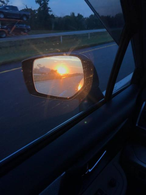 Sunrise in the side view mirror (2018)