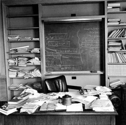 Albert Einstein's office on the day of his death (April 18, 1955)