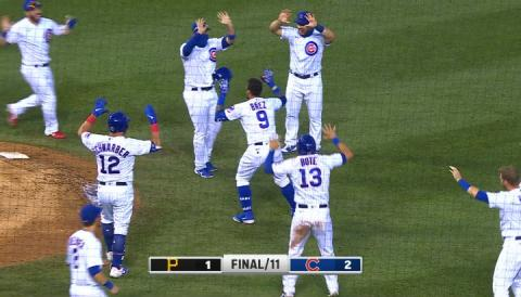 Chicago Cubs social distance celebration