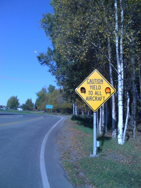 Yield to aircraft sign in Anchorage, Alaska