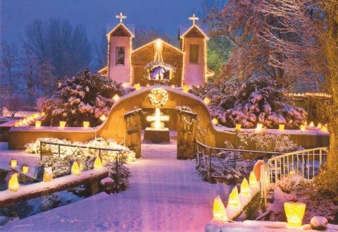 El Sanctuario de Chimayo, candlelights in winter