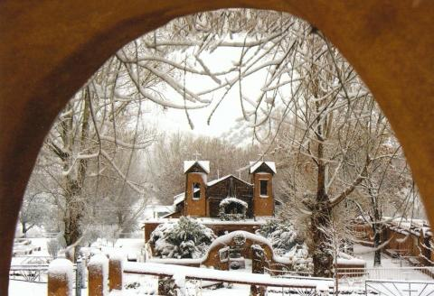 El Sanctuario de Chimayo, in the winter