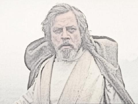A Luke Skywalker sketch with Gimp