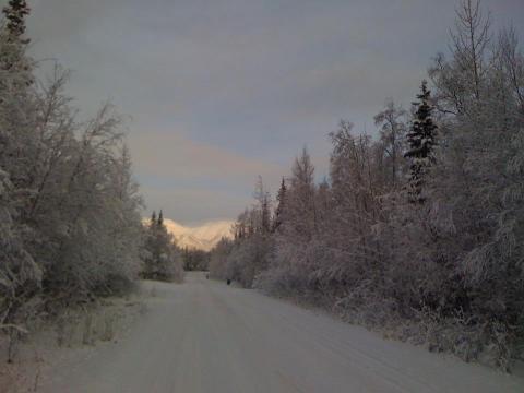 A snow covered road in Wasilla, Alaska | alvinalexander.com