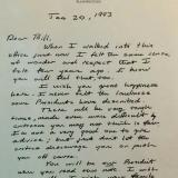 Letter from George Bush to Bill Clinton