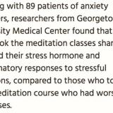 Mindfulness meditation reduces stress