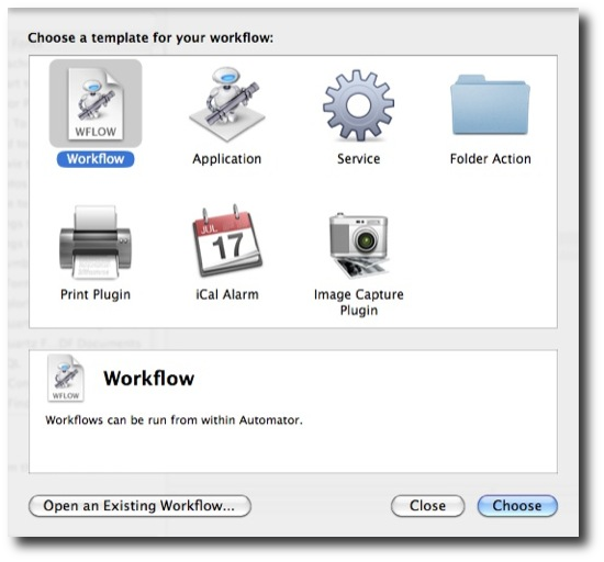 Mac Automator templates - choose Workflow template