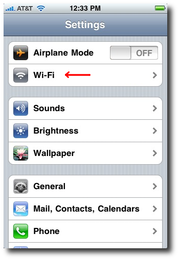 iPhone wireless network settings (iPhone/iPod Wi-Fi settings)