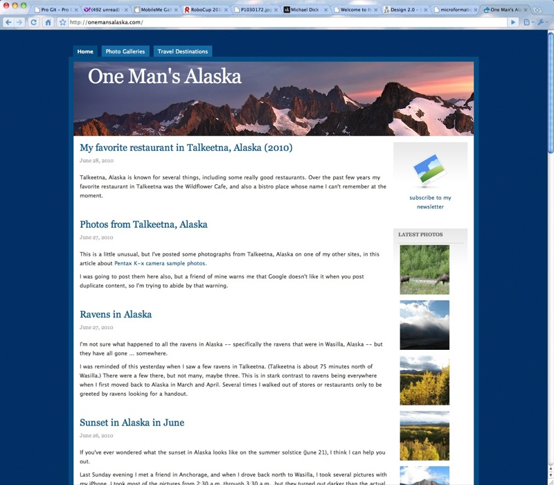 The original One Man's Alaska Drupal theme