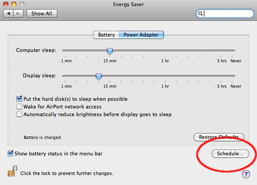 Mac Energy Saver, Schedule