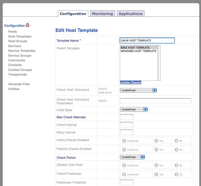 Nagios web application screenshots alvinalexander nagios web interface edit a nagios host template maxwellsz