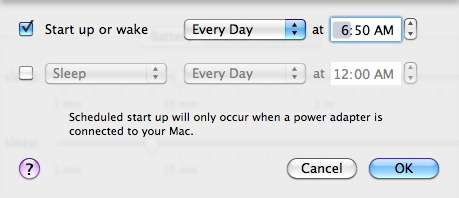 Mac schedule automatic wake up time (or sleep time)