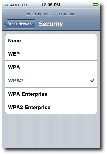 iPhone network security type (WPA, WPA2, etc.)