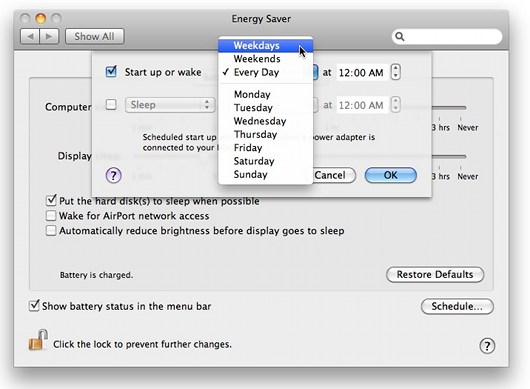 Mac schedule automatic wake up time (schedule details)