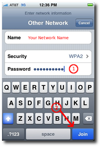 iPhone network setup - password, join