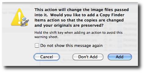 Mac Automator - batch scale images - copy warning