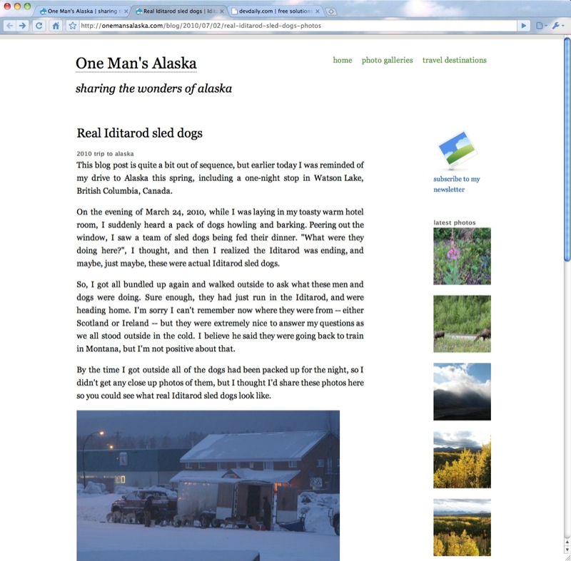 One Man's Alaska - clean, Drupal theme in a website redesign