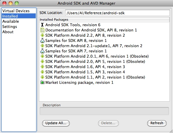 Android SDK update process - 2