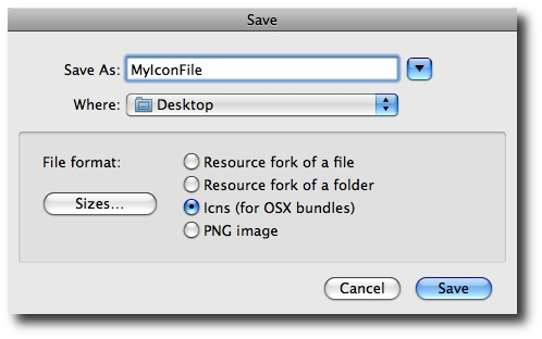 FastIcns file save dialog, letting you save your ICNS file