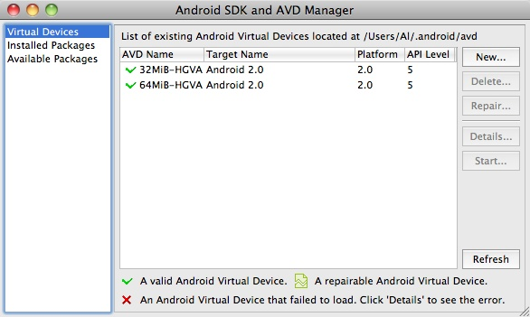 Eclipse Android - List AVD devices