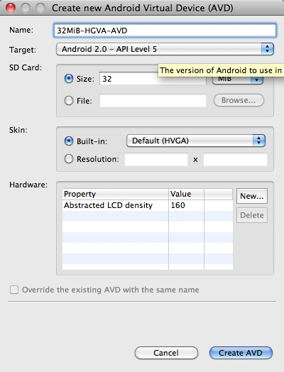 Android + Eclipse: How to create a new Android Virtual Device (AVD