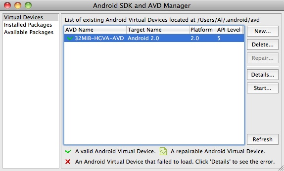 Eclipse Android - the new AVD in Eclipse