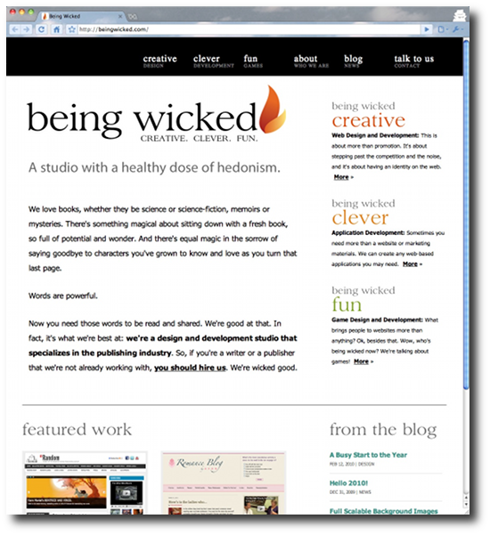 Clean, minimalist website designs - Being Wicked