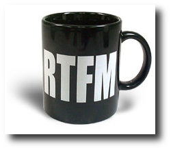 Geek gift ideas for under $10 2009 - RTFM coffee mug