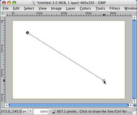 GIMP - draw a straight line - hold down shift key