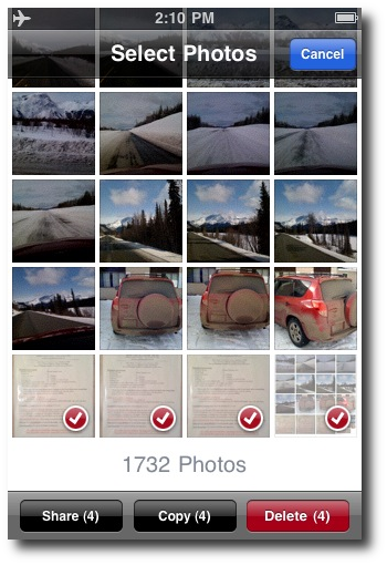 How to delete multiple iPhone photos - Multiple photos selected