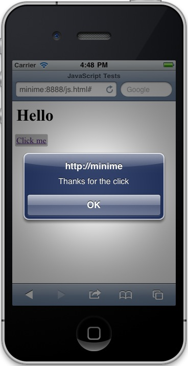 An iPhone/iPod JavaScript alert dialog example