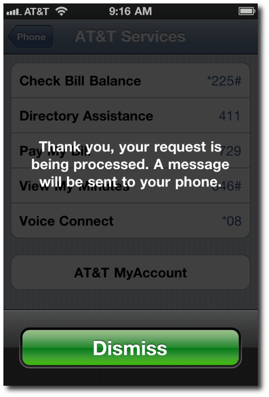 iPhone ATT check minutes used - system message