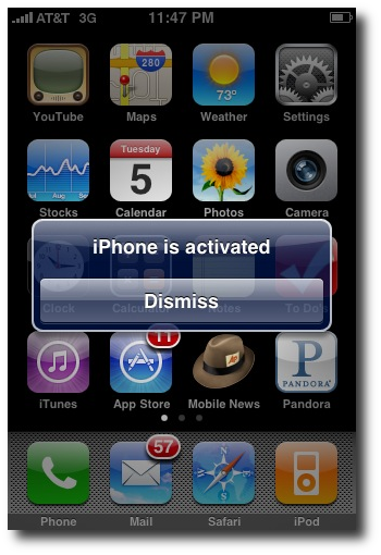 iPhone screenshot from when the phone was reactivated