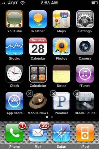 An iPod screen capture where I was showing people how to move iPhone icons around.