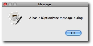 JOptionPane showMessageDialog - simple example