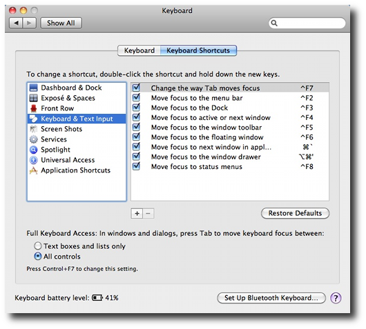 Mac OS X Preferences - Keyboard Shortcuts, including putting focus on the Mac menu bar