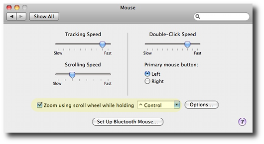 Mac OS X screen zoom mouse settings