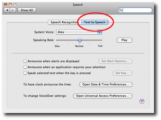 Mac OS X - System Preferences - Text to Speech panel