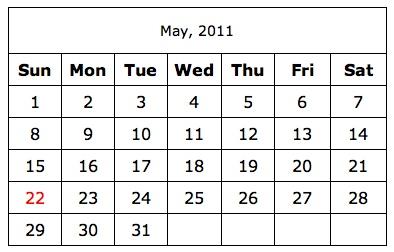 a simple printable calendar
